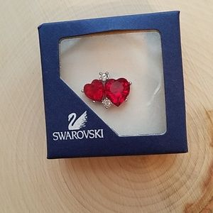 Swarovski Ruby Red Double Heart Tac Tack Pin